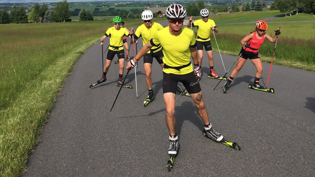 Andy Newells Nordic Team Solution athletes training in Bozeman, Vermont