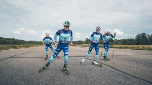 Finnish National team skiers in training during photoshoot with Halti